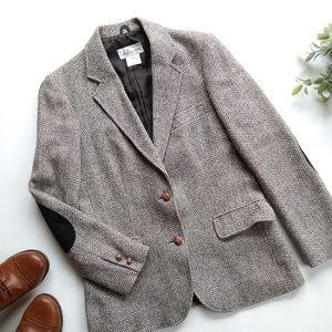 Vintage wool blend elbow patch blazer